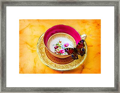 Tea Time With Butterfly Framed Print
