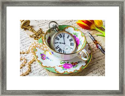 Tea Time With Pearls Framed Print