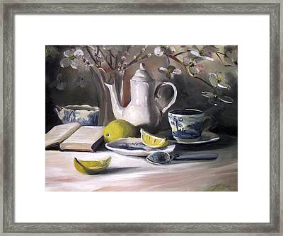 Framed Print featuring the painting Tea With Lemon by Nancy Griswold