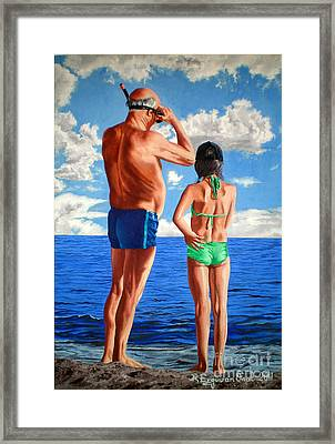 Teaching The Grandpa - Ensenando Al Abuelo Framed Print