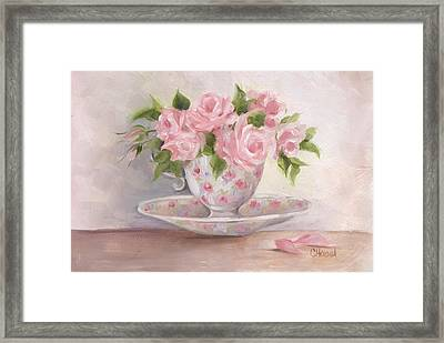Teacup And Saucer Rose Shabby Chic Painting Framed Print by Chris Hobel