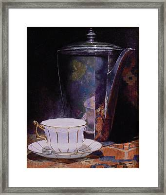 Teacup And Teapot On An Oriental Rug Framed Print by Jeffrey Hayes