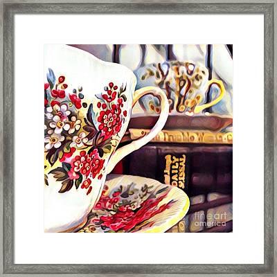 Teacups And Books Framed Print