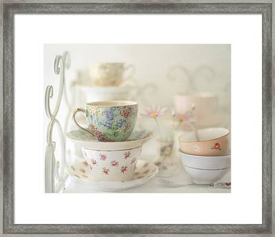 Teacups On White Framed Print by Sharon Lapkin