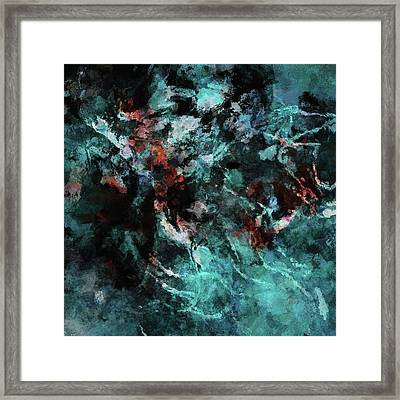 Teal Abstract And Modern Painting Framed Print by Ayse Deniz