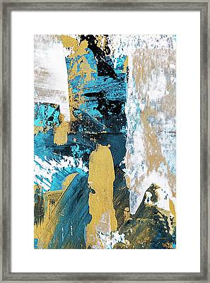 Framed Print featuring the painting Teal Abstract by Christina Rollo