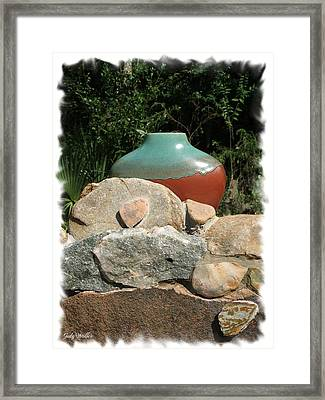 Teal And Brown Clay Pot  Framed Print by Judy  Waller