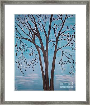 Framed Print featuring the painting Teal And Brown by Leslie Allen
