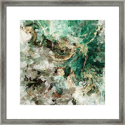 Framed Print featuring the painting Teal And Cream Abstract Painting by Ayse Deniz