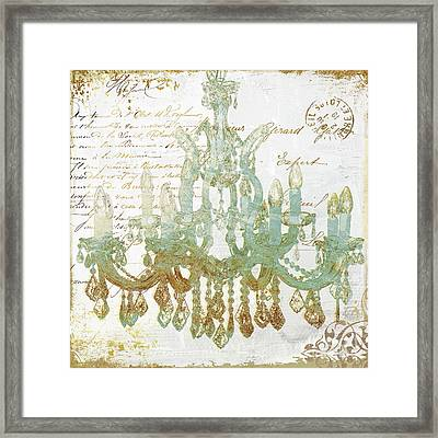 Teal And Gold Chandelier Framed Print by Mindy Sommers