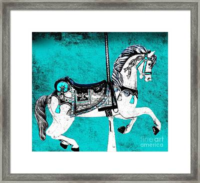 Teal And Grey Carousel Horse Framed Print