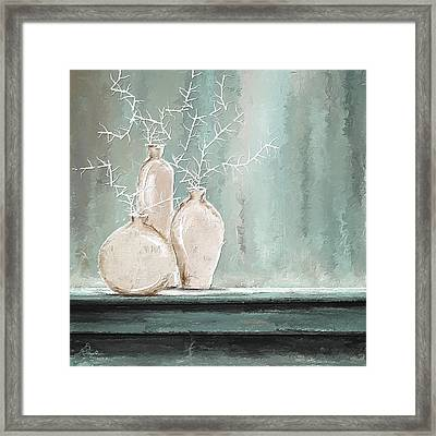 Teal And White Art Framed Print by Lourry Legarde