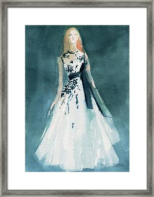 Teal And White Evening Dress Framed Print by Beverly Brown