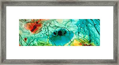 Teal Aqua Art - Connected - Sharon Cummings Framed Print by Sharon Cummings
