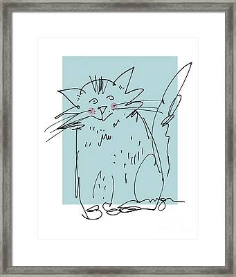 Teal Cat Framed Print