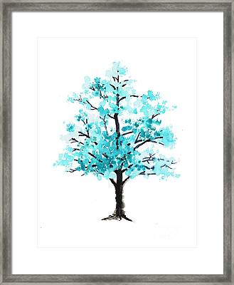 Teal Cherry Blossom Tree Watercolor Art Print Framed Print