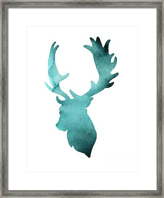 Teal Deer Watercolor Painting Framed Print by Joanna Szmerdt