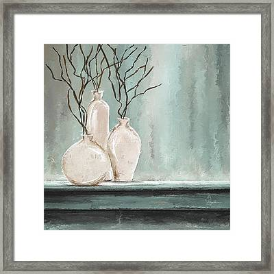 Teal Elegance - Teal And Gray Art Framed Print by Lourry Legarde