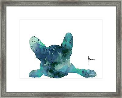 Teal Frenchie Minimalist Painting Framed Print by Joanna Szmerdt