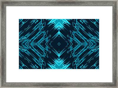 Teal Kaleidoscope On Black Background Framed Print by Gina Lee Manley