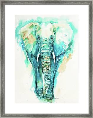 Teal N Turquoise Elephant Framed Print