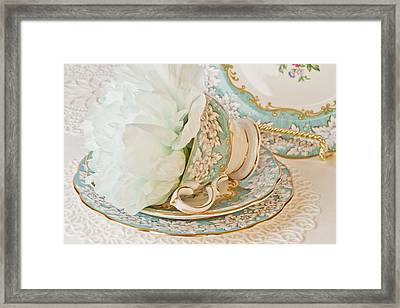 Teal Peony For Real  Framed Print