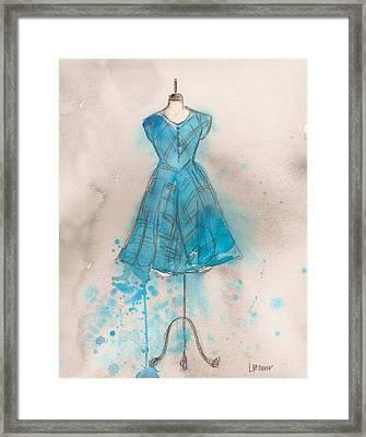 Teal Striped Dress Framed Print by Lauren Maurer