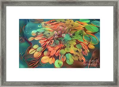 Teal Waterlilies 1 Framed Print