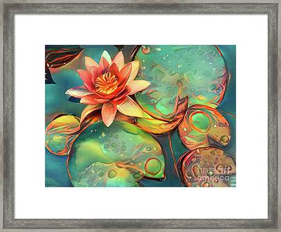 Teal Waterlilies 11 Framed Print