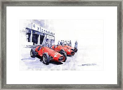 1953 Team Ferrari 500 F2 German Gp Framed Print by Yuriy  Shevchuk