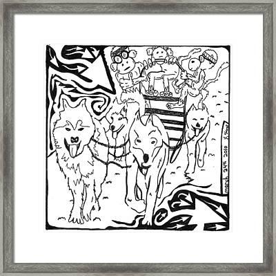 Team Of Monkeys Dog Sled Maze Framed Print by Yonatan Frimer Maze Artist