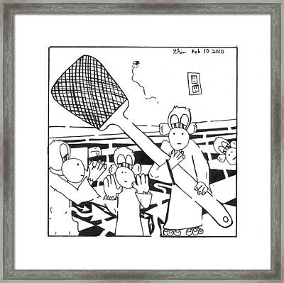 Team Of Monkeys Fly Swatting Crew Framed Print