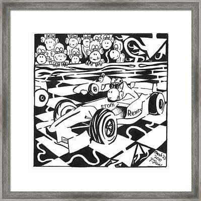 Team Of Monkeys Go Kart Race Framed Print by Yonatan Frimer Maze Artist