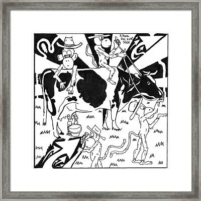 Team Of Monkeys Maze Cartoon - Milking A Holstein Cow Framed Print