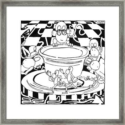 Team Of Monkeys Maze Cartoon - Pottery Framed Print by Yonatan Frimer Maze Artist