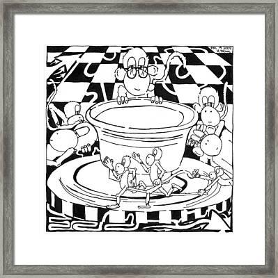 Team Of Monkeys Maze Cartoon - Pottery Framed Print by Yonatan Frimer Maze Artist