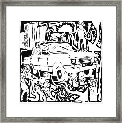 Team Of Monkeys Maze Comic Changing Tire Framed Print by Yonatan Frimer Maze Artist