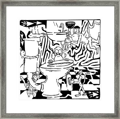 Team Of Monkeys Plumbers Maze Framed Print by Yonatan Frimer Maze Artist
