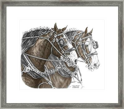 Team Work - Clydesdale Draft Horse Print Color Tinted Framed Print by Kelli Swan