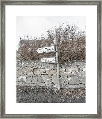 Teampall Sign Inis Mor Ireland Framed Print by Betsy Knapp