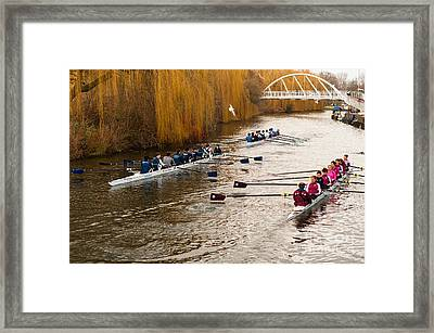Teams Of Rowers On River Cam Framed Print