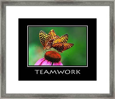 Teamwork Inspirational Motivational Poster Art Framed Print by Christina Rollo