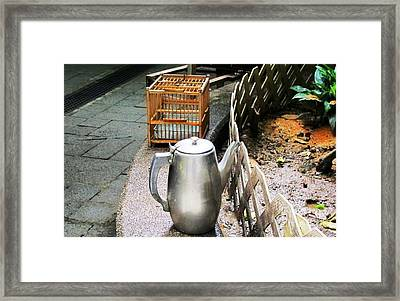 Teapot And Birdcage Framed Print by Ethna Gillespie