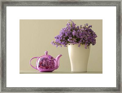 Teapot And Flowers In A Vase Framed Print by Ben Welsh