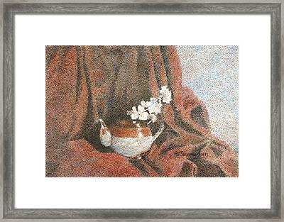 Teapot On Red Framed Print by Pat Schermerhorn