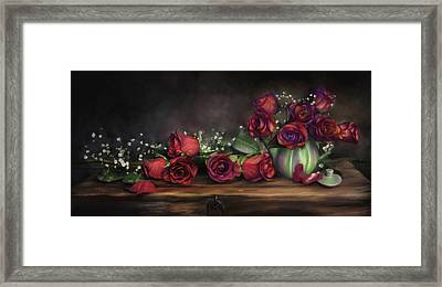 Framed Print featuring the digital art Teapot Roses by Susan Kinney
