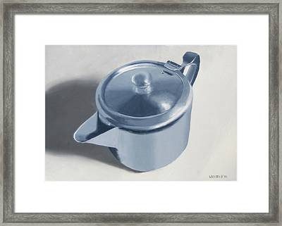 Teapot Still Life Oil Painting Framed Print by Mark Webster
