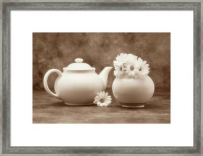 Teapot With Daisies II Framed Print by Tom Mc Nemar