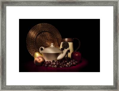 Teapot With Fruit Still Life Framed Print by Tom Mc Nemar