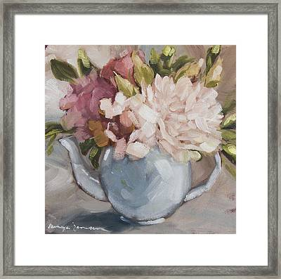Teapot With Peonies Framed Print